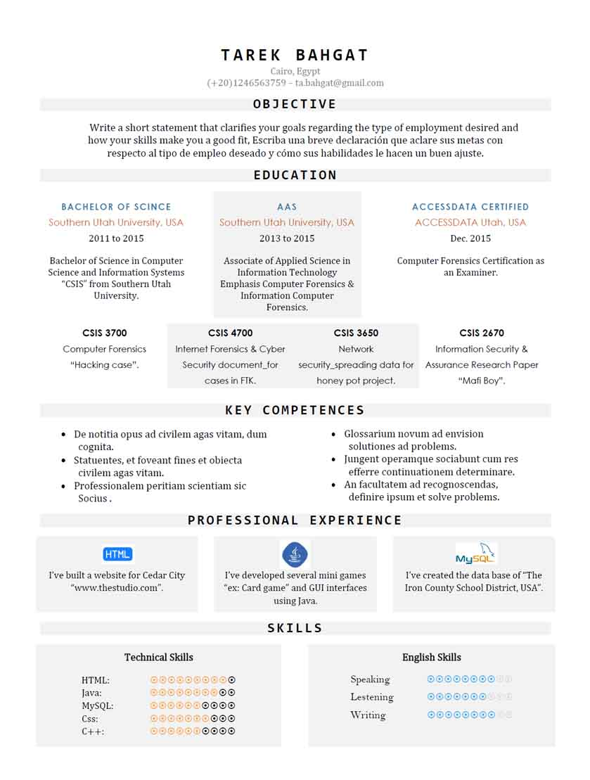 tabula - well organized one page resume template