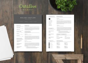 Two Page Minimal Resume Template - Creative Market