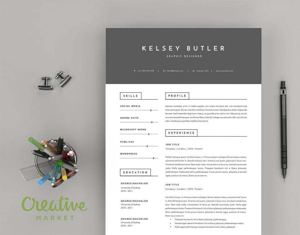 two page minimal resume template and a cover letter resumes mag