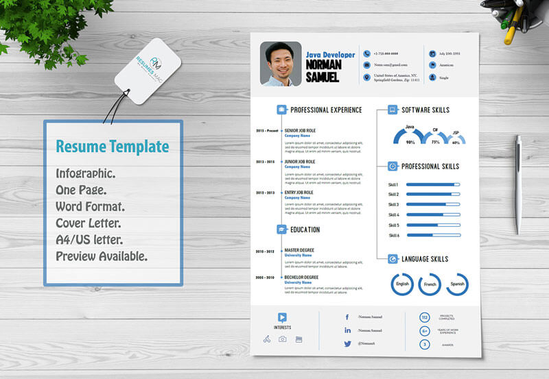 Best Infographic Resume Template With Cover Letter Template Resumesmag