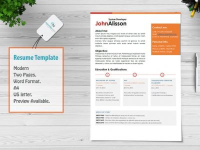 Caren_Two Page Resume Template